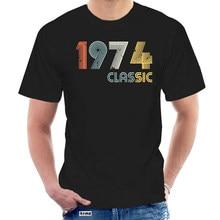 100% algodão o pescoço personalizado impresso camiseta masculina 1974 clássico 44 anos de idade aniversário-44 aniversário feminino camiseta @ 000896