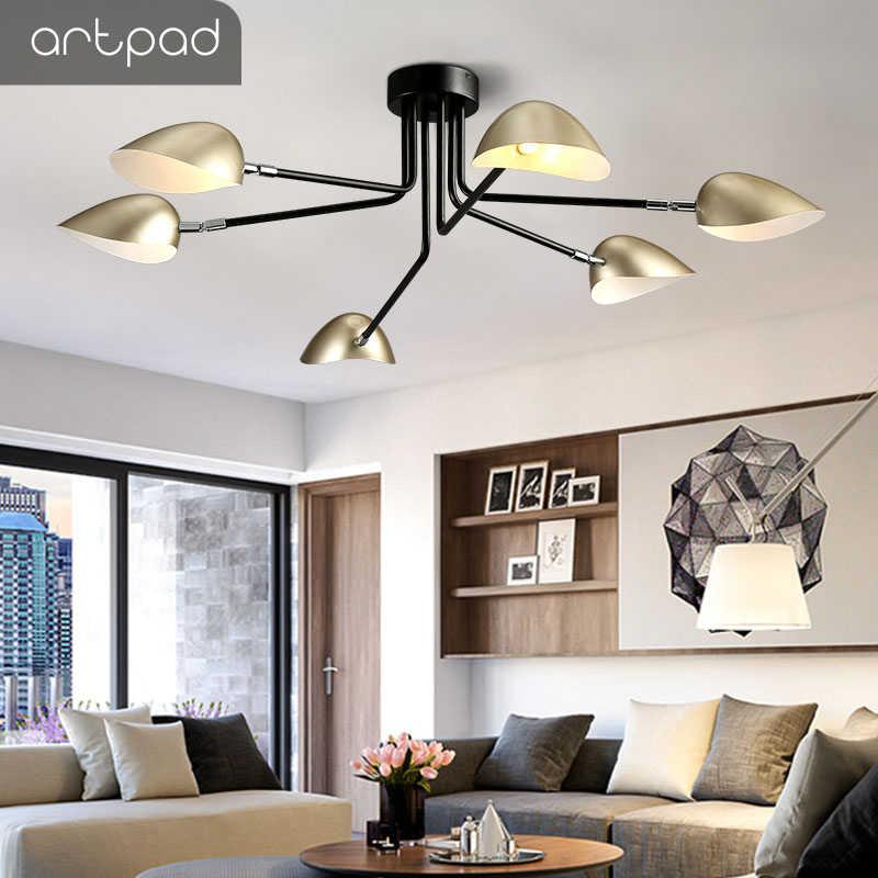 Artpad 3 6 灯シャンデリアアヒル口の形ランプシェード G4 ゴールド黒ペンダントランプダイニングルームリビングルームぶら下げ照明