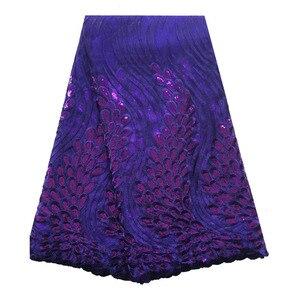 Image 2 - Tissus en dentelle africaine vert émeraude, tissus de haute qualité en dentelle à séquence, 5 yards, tulle français en dentelle pour robe pour femmes