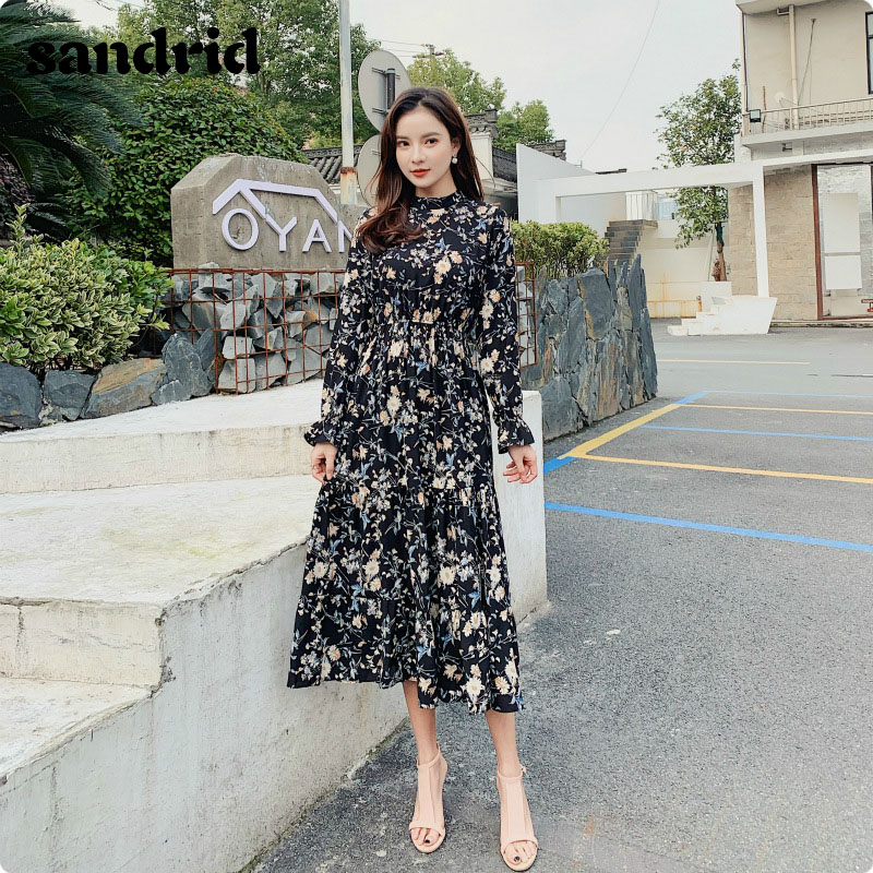 Spring 2020 New Women's Dress South Korean Version Chiffon Dress Feminine Girdle Waist Broken Flowers Pleated Long Dresses
