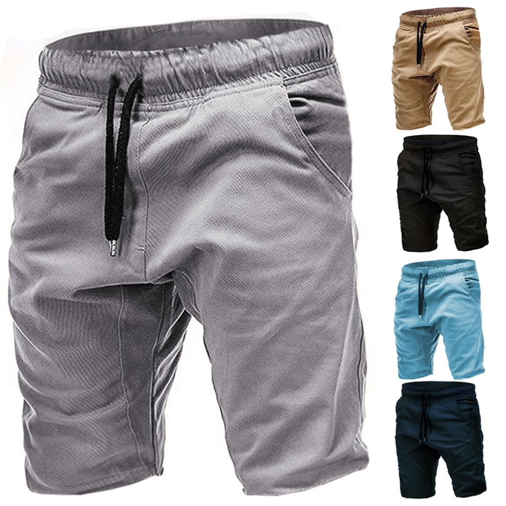 Men Solid Color Pocket Drawstring Sport Shorts Slims Fit Elastic Jogger Pants Men Cotton Loose Work Casual Short Pants Plus Size