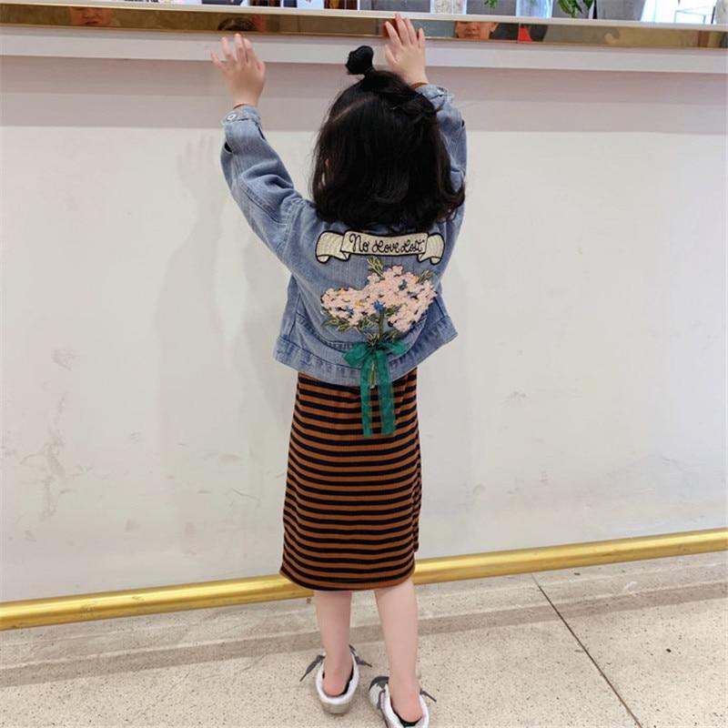 2020 Spring And Autumn Item Girl Fashion Suit Kids Clothing Set Child Clothes Children Suit Including Jeans Coat+stripe Dress