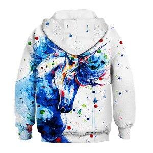 Image 2 - Moda 3D jednorożec bluzy bluza dziewczyny chłopcy tęczowy koń zwierząt drukowane cienka, długa rękaw dzieci bluza z kapturem maluch płaszcz z kapturem