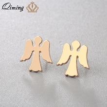 Angel-Earrings Amulet Jewelry Gold QIMING Girl Women Bijoux Guardian Birthday-Gift