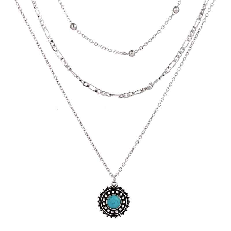 Bohemian Vintage Alloy Ancient Silver Stone Pendant Female Multi-layer Popular Necklace 2019 Fashion Collar Jewelry Gift