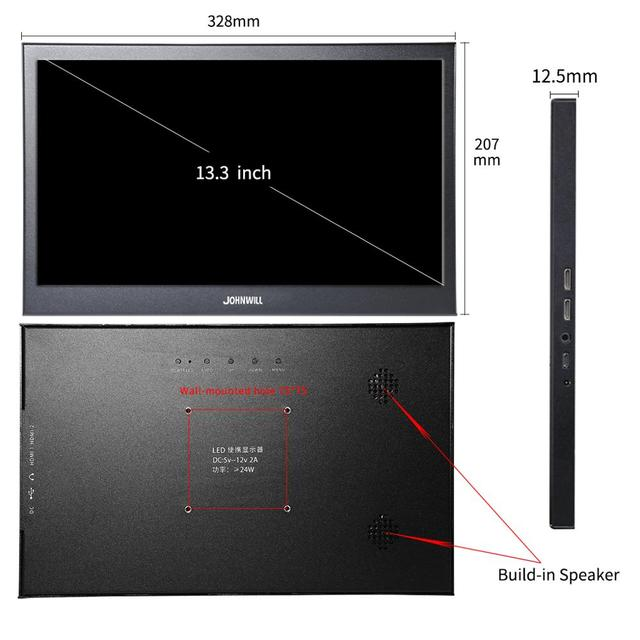 Portable Monitor hdmi touch screen 13.3 inch 2K PC PS4 Xbox 360 1080P IPS HD LCD LED Display for Raspberry Pi switch laptop 2