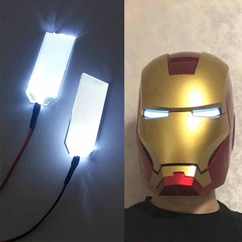 DIY Kits de Ojos de luz LED para 1:1 Iron Man Tony Stark casco Cosplay ojos color blanco claro máscara accesorios 0717
