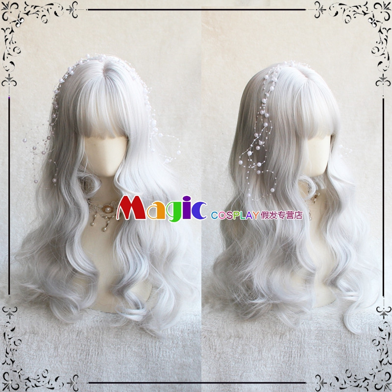 65CM Harajuku Lolita Sweet Daily Wig Silver White Girl Curly Wigs Cosplay Princess Synthetic Hair Long Wavy Party Wig