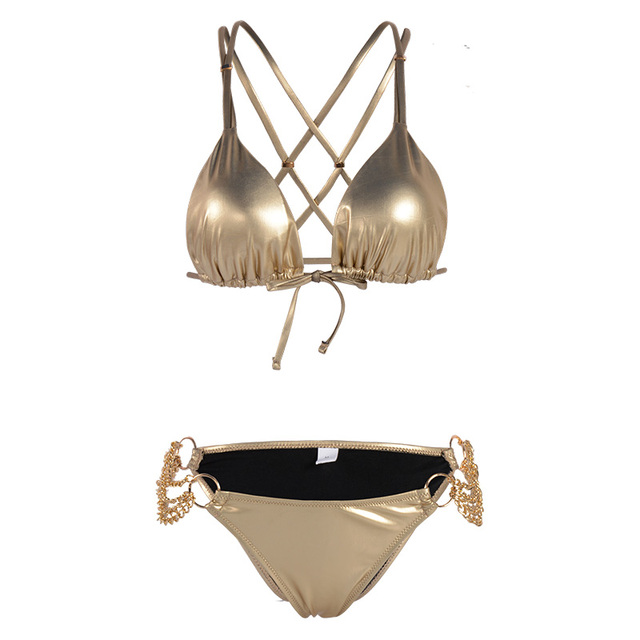 Shinny Solid Color Glitter Bikini with Gold Side Chains 6