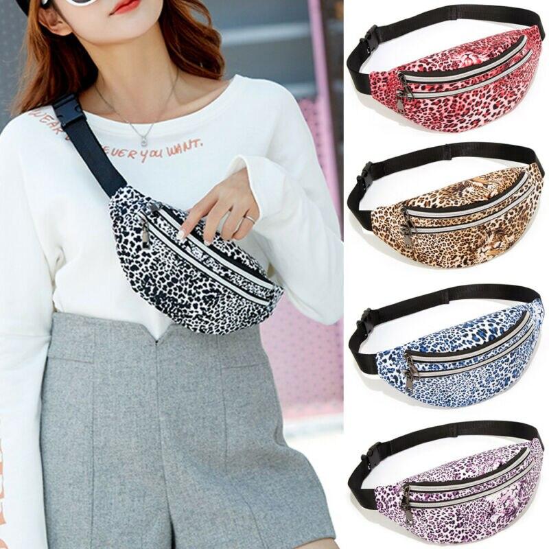 Women Leopard PU Waist Fanny Pack Belt Bag Travel Hip Bum Bag Small Purse Chest Pouch