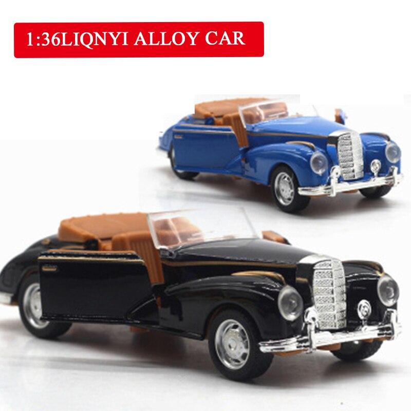 1:36 High Simulation Alloy Mercedes-Benz Pull Back Car Classic Retro Model Car Toy Drawing Room Bedroom Decorations