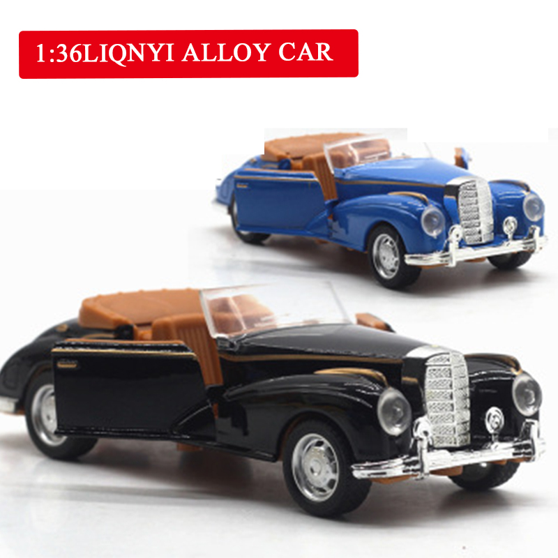 1:36 High Simulation Alloy Mercedes-Benz Pull Back Car Classic Retro Model Car Toy Drawing Room Bedroom Decorations