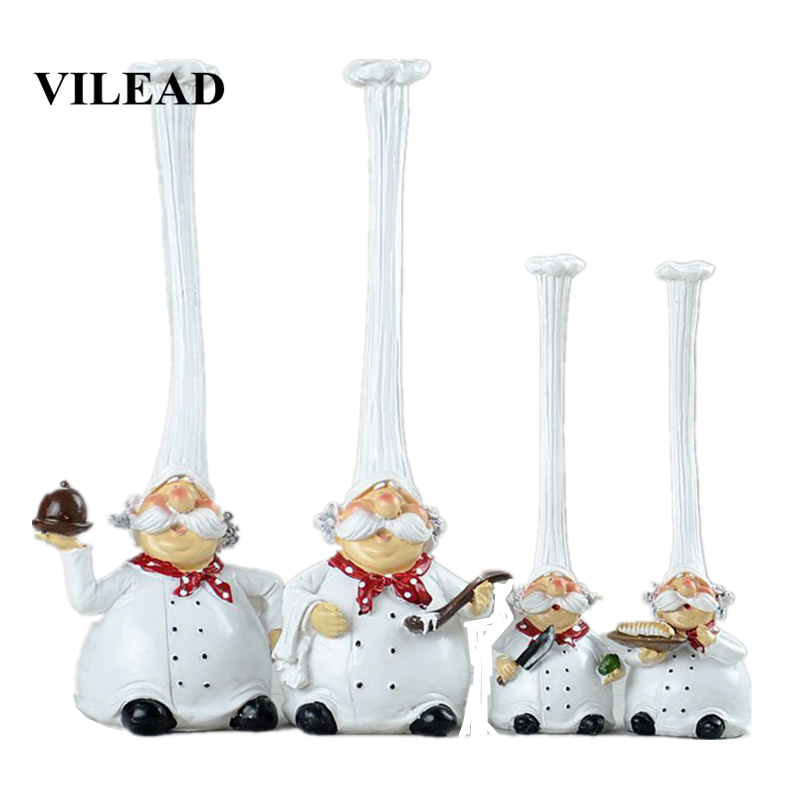 VILEAD 20cm 28cm Resin High Hat Chef Figurines American Rustic Creative Kitchen Restaurant Home Decoration Ornaments Crafts Gift