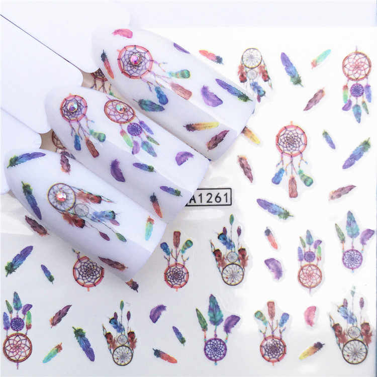 1 pcs Nail Stickers Animal Water Decal Ocean Cat Plant Pattern 3D Manicure Sticker Nail Art Decoration m1N4