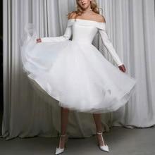 Temperament Wedding Dress Straight Shoulder Short Wedding Dress Simple Long Sleeve White Belt Off Shoulder Sexy 2021 New Style