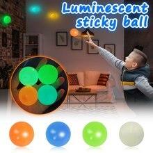 Balles de Stiky luminescentes de 45mm, bâton de plafond, boule murale collante, boule de Squash, globes, jouets pour enfants