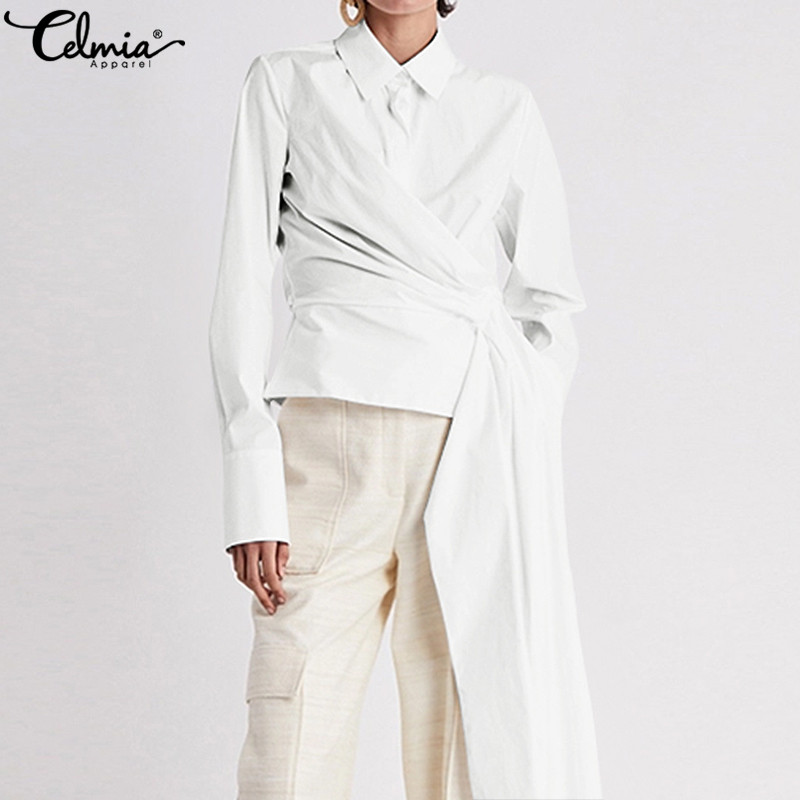 Asymmetrical Shirts Top Fashion Celmia Women White Blouses Long Sleeve Lapel Casual Belted Party Tops Pleated OL Elegant Blusas