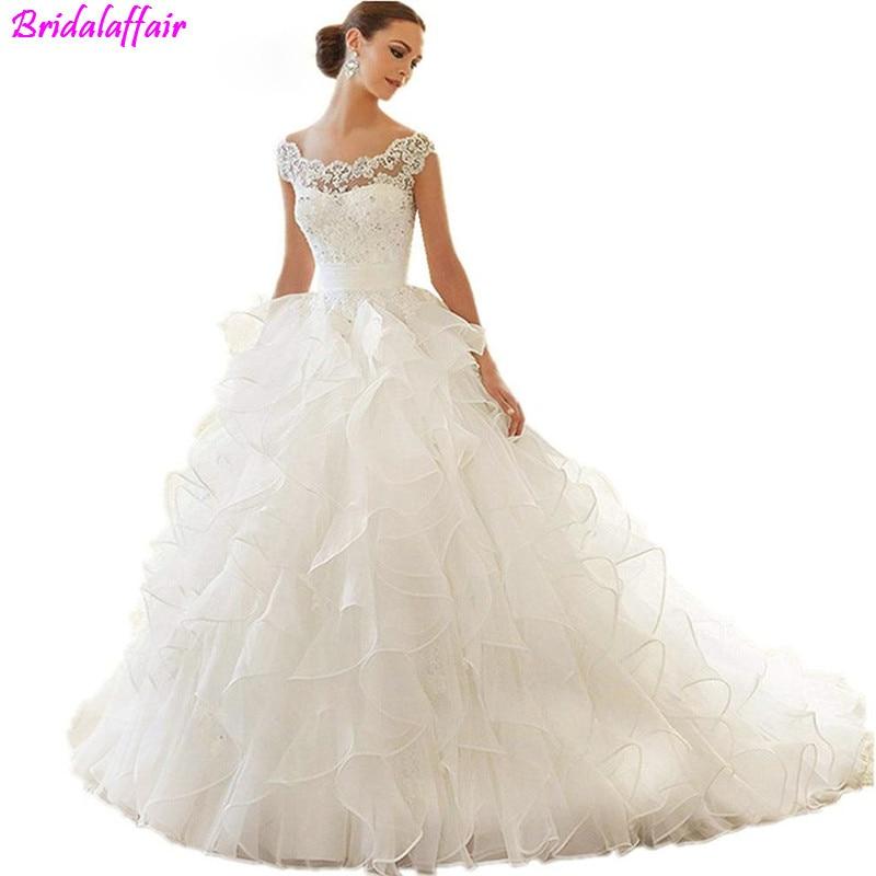 Organza Shiny Beading Crystal Waist Wedding Dress Luxury Lace Ball Gown Dresses Plus Size Bridal Gowns hochzeitskleid