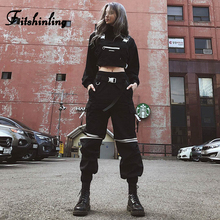Fitshinling Punk Grunge Cool Matching Sets Buckle Tops Pants 2 Piece Set Outfits Women Clothing Gothic Dark Black Zipper Suits