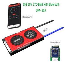 25S 60V LTO BMS 20A80A with Bluetooth phone APP RS485 CANbus NTC UART GPS for LTO Batteries 2.3V 2.4V connected in 25 series