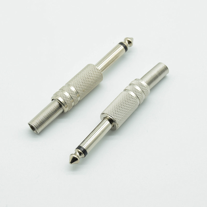 2pcs 6.35mm / 6.5mm 2Pole Mono Amplifier Plug 6.35 / 6.5 Metal Microphone Jack Plug-in Audio Connector For KTV