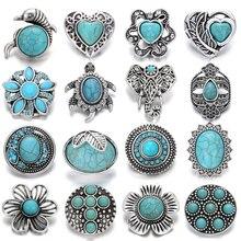 6pcs/lot 18mm Snap Jewelry Button Lot Vintage Natural Stone Elephant Owl Cross 18mm Metal Snap Buttons Fit Snap Button Bracelet