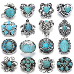 6pcs/lot 18mm Snap Jewelry Button Lot Vintage Natural Stone Elephant Owl Cross 18mm Metal Snap Buttons Fit Snap Button Bracelet