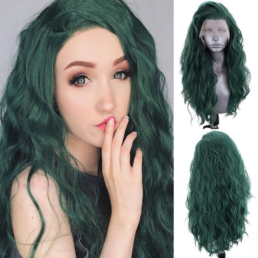 EEWIGS Loose Wave Wig Blonde Lace Front Wig High Temperature Synthetic Hair Wigs Glueless Brown Pink Grey Wigs for Women Cosplay