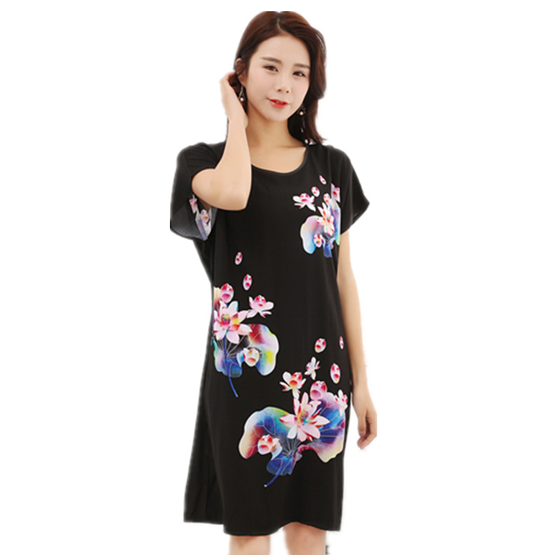 Manufacturers Wholesale Summer Cotton Bat Sleeve Large Size Printed Nightgown Women's Tracksuit Pajamas Peacock Lotus