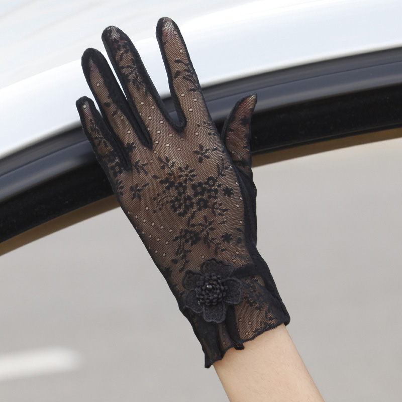Ladies Summer Sun Protection Gloves Lace Anti-UV Gloves Black Sexy Breathable Riding Driving Sunshade Short Gloves Female 03K