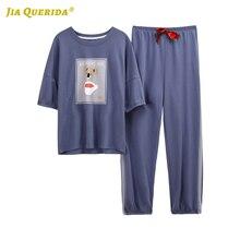 2020 yeni kadınlar için pijama pijama Homesuit Homeclothes kısa kollu uzun pantolon karikatür baskı ekibi boyun Pj seti pijama seti