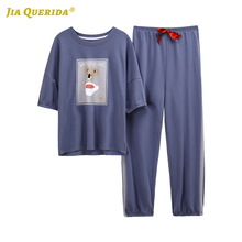 بيجامات نسائية منزلية جديدة لعام 2020 ملابس نوم سروال طويل بأكمام قصيرة مطبوع عليها رسوم كرتونية طقم بيجامات برقبة دائرية طقم بيجامات