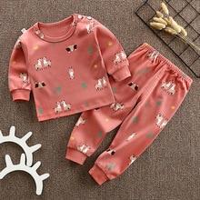 цена на 2pcs/Set Baby Girls Sets  Children Autumn Winter Cartoon Fashion Suit Boys Girls Outfits Kids T-shirt Long Sleeve Shirt+pants