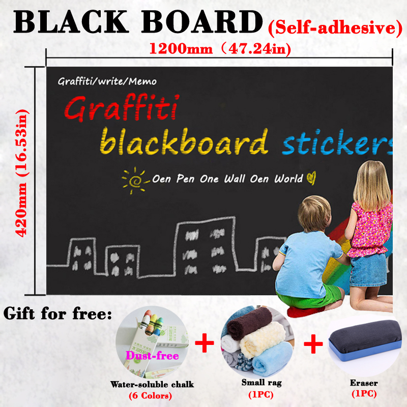 42*120CM Blackboard School Teaching Self-adhesive Wallpaper Dry Erase Black  Board Kids Bulletin Board Stationery Message Board