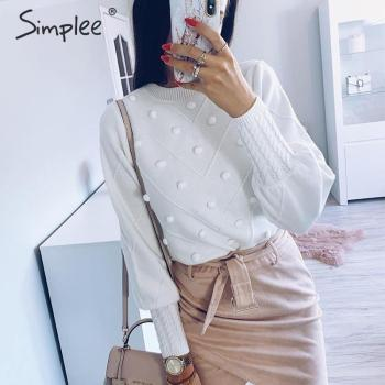 Simplee Elegant fur pompon women sweater Autumn winter lantern sleeve knitted sweater female Streetwear ladies pullover jumper