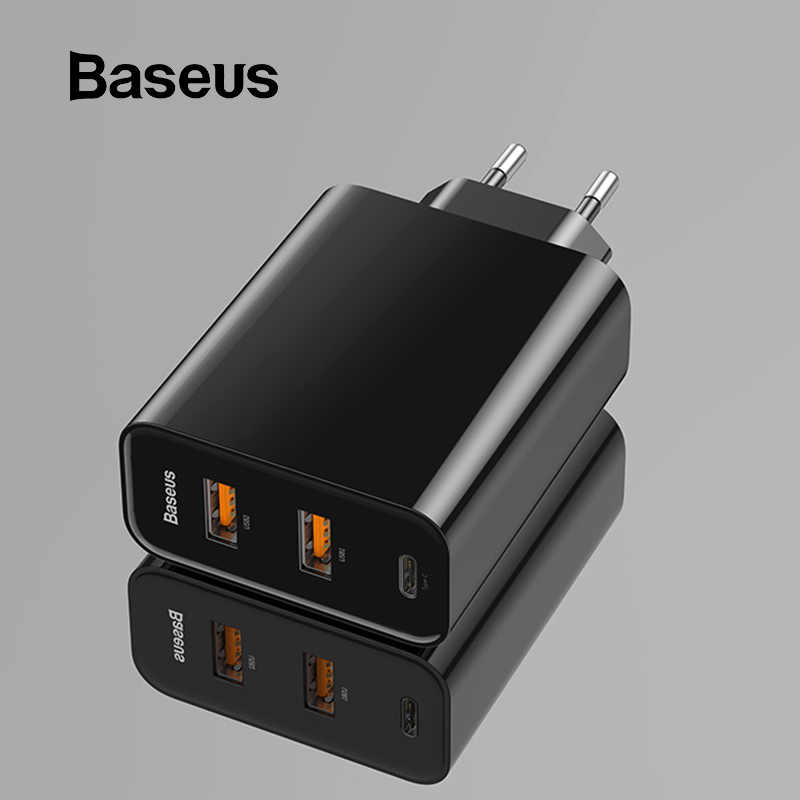 BASEUS 3 พอร์ต USB PD Charger 60W สำหรับ iPhone 11 Pro XS MAX XR Fast Charger Quick Charge 4.0 3.0 FCP SCP สำหรับ Xiaomi Huawei
