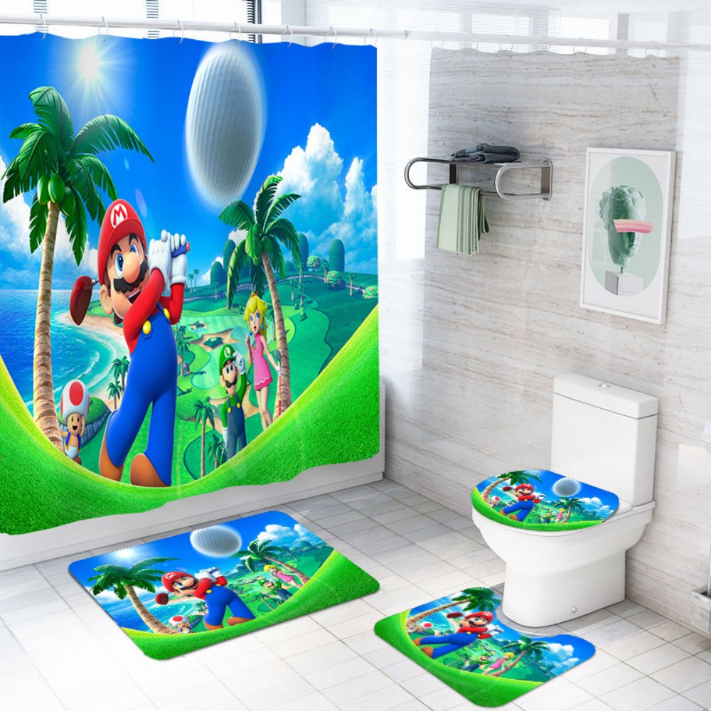 Super Mario Bros Waterproof Bath Curtain Polyester Fabric Toilet Cover Non Slip Rug Mat Set 4 PIece Cartoon Bathroom Decor
