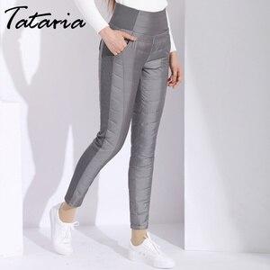 Image 3 - Pantalon dhiver en duvet de canard pour femmes, grande taille, noir, taille haute, slim, chaud, en velours, pantalon crayon, élastique, collection décontracté