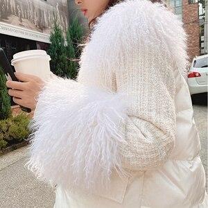 Image 4 - MISHOW 2019 חורף נשים 90% ברווז למטה לבן עבה מעיל אופנה נשי ברדס פרווה צווארון קצר עבה למטה מעיל MX19D8869