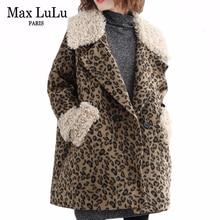 מקסימום לולו 2019 אופנה גדולה הקוריאני חם הלבשה עליונה גבירותיי צמר ארוך מעילי נשים מקרית Leopard מרופד חורף מעילים