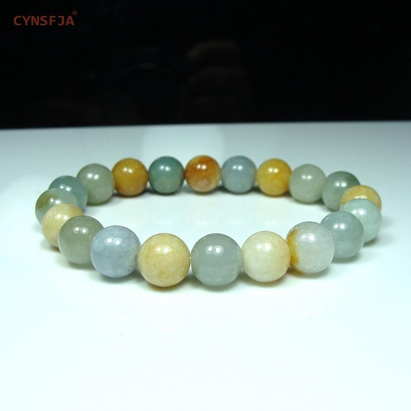 Cynsfja real raro certificado grau natural um birmanês jadeite esmeralda amuletos jade pulseiras verde amarelo de alta qualidade melhores presentes