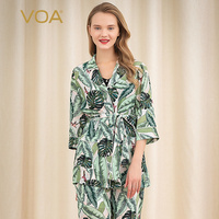 VOA banana leaf silk flying bird print suit collar single breasted lace up loose breathable casual shirt for women BH72B