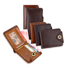 New Cowhide Vintage Wallet Luxury Mens Genuine Leather Bifold Hasp Wallet Credit ID Card Holder Purse Short Long Style Wallet mens gentleman black real genuine cowhide leather bifold clutch wallet coin purse pouch id card dollar package indian head