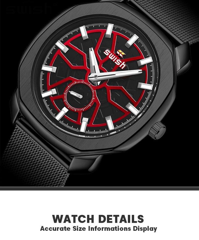 SWISH Brand Designer Quartz Watches Men Stainless Steel Dress Wristwatch 2021 New Fashion Milan Strap Small Second Dial Working