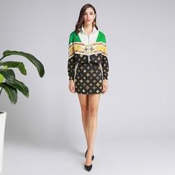 Xiaomoli/Модный повседневный боди на молнии, сумка, юбка с принтом, темпераментный комплект из двух предметов, Новинка осени 2019