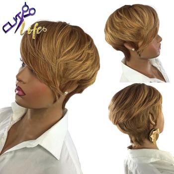 Miód blond kolor krótki falista Bob fryzura Pixie pełna maszyna wykonana nie peruki typu Lace z ludzkich włosów dla czarnej kobiety włosy brazylijskie Remy tanie i dobre opinie DREAMING QUEEN HAIR CN (pochodzenie) Remy włosy Sparkle Curl Indyjski włosy Średnia wielkość Ciemniejszy kolor tylko
