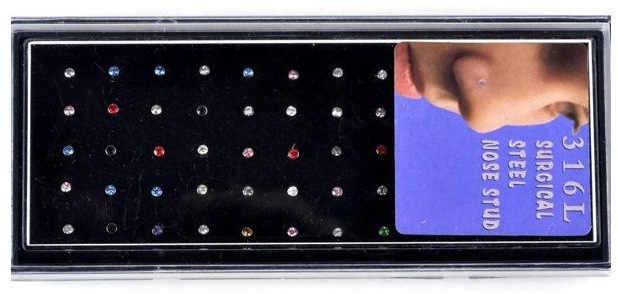 60 יחידות\מארז נירוסטה קריסטל האף טבעת סט נשים ילדה כירורגי פלדת פירסינג קריסטל האף Stud הרבה גוף תכשיטים