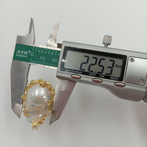 Image 5 - 100% 自然淡水パールリング、ビッグバロックパールリング。20 × 30 ミリメートル真珠