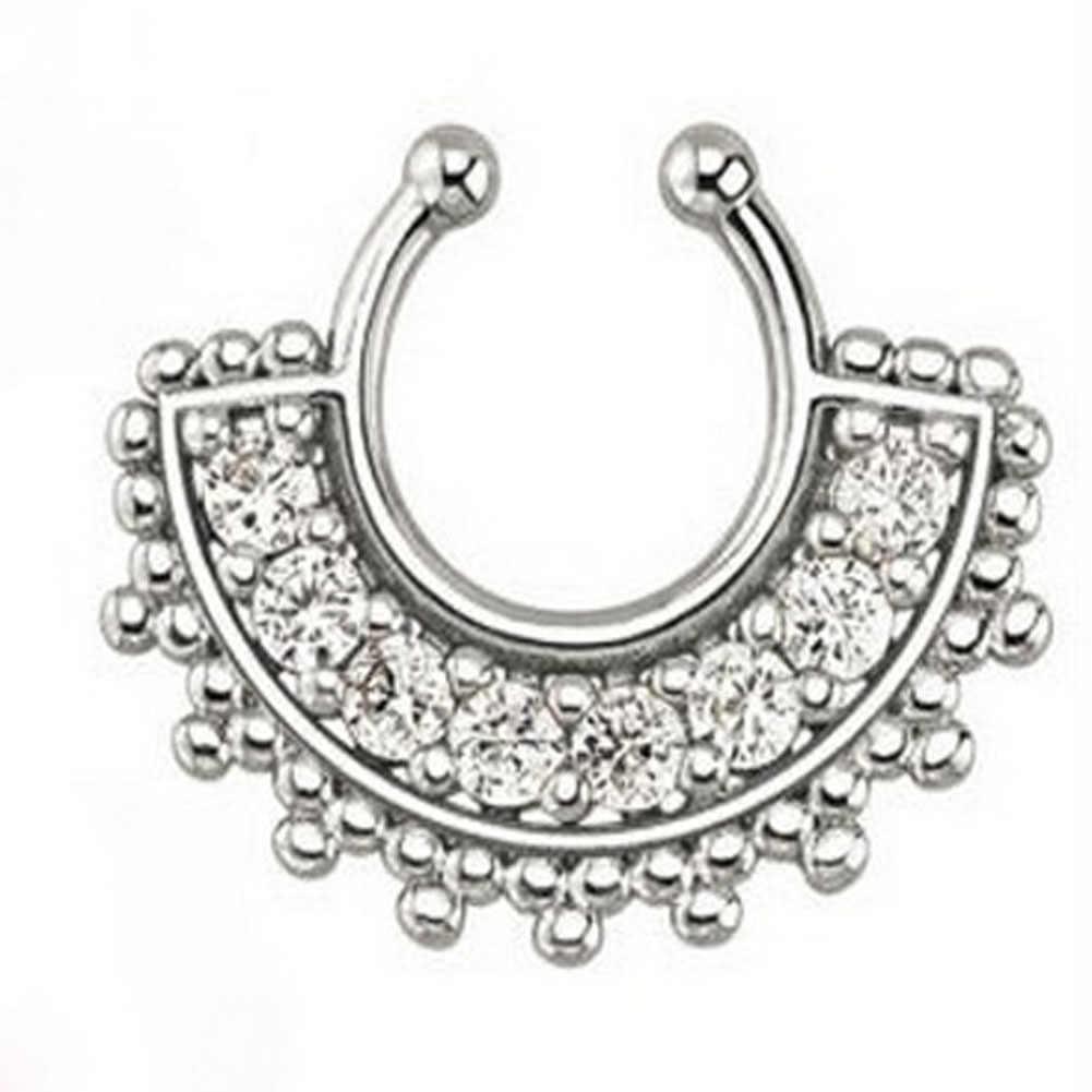 1 Pza nueva moda cristal negro piercing septum falso aro de la nariz para mujeres faux clip clicker no cuerpo de titanio joyería