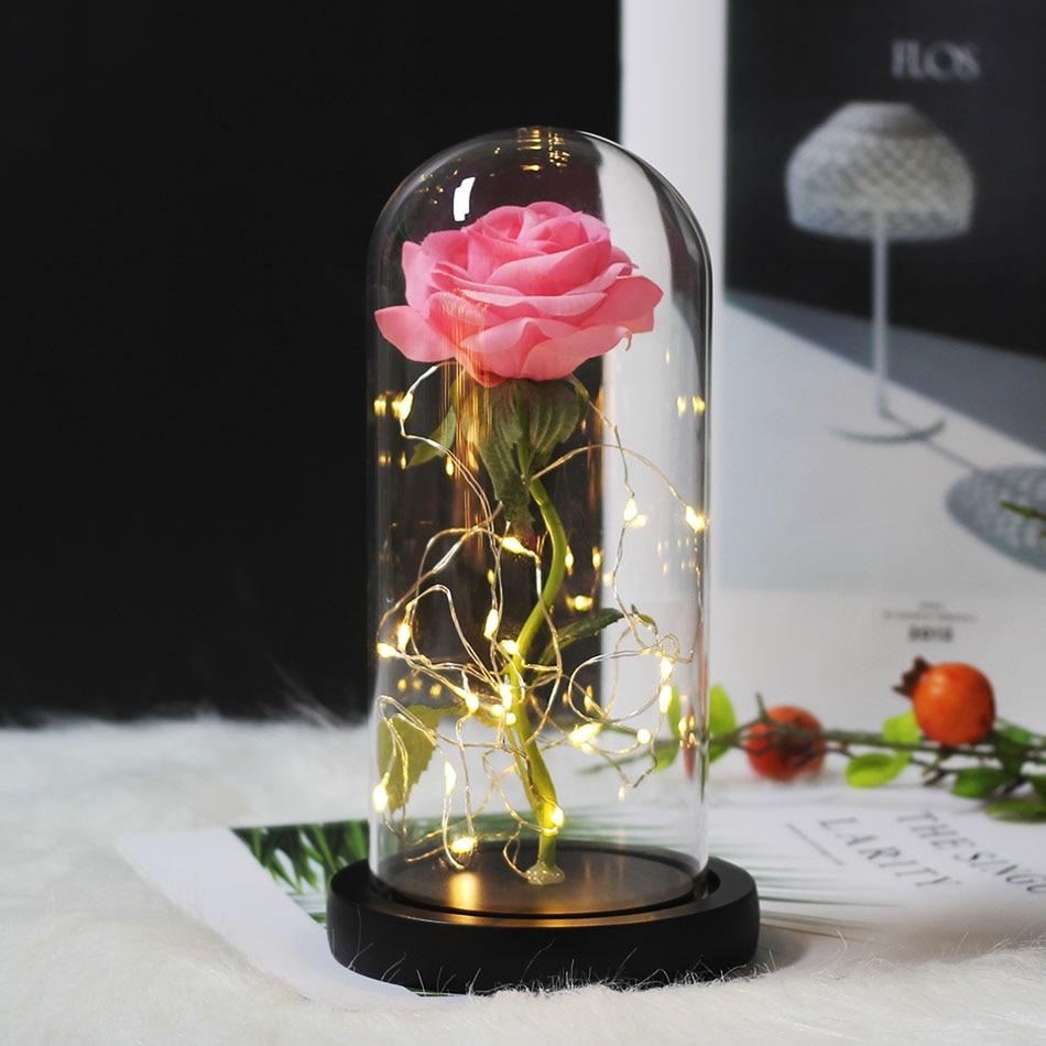 Красота и с рисунком из мультфильма «Красавица и Чудовище» в виде красных роз с яркие светодиодные светильник в Стекло купол для Свадебная вечеринка, подарок на день Святого Валентина, подарок на день матери - Цвет: Black dark pink